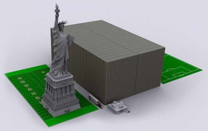 Как наглядно представить долг США купюрами по 100 долларов
