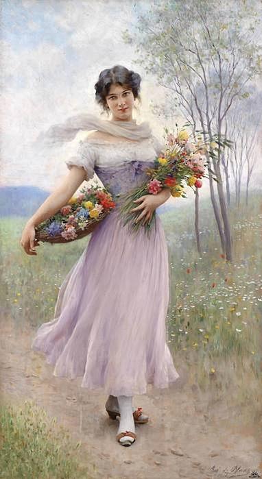Girl in a Lilac Dress, Eugene de Blaas (382x700, 187Kb)