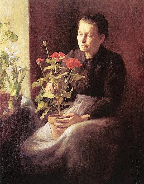 Caroline_Lord_(American_artist,_1860-1927)_Woman_with_Geranium_(2) (546x700, 365Kb)
