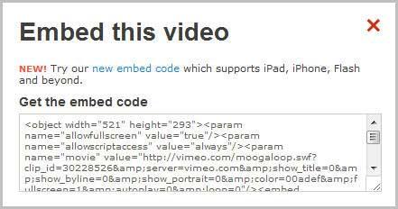 Как вставить в пост видео Vimeo