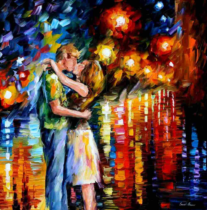 Lovers Kissing Painting