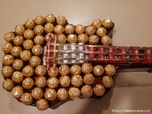 Конфетная гитара. Шаблон сладкого подарка (4) (500x375, 129Kb)
