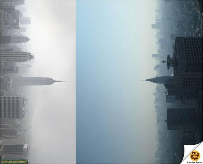 Создаем сюрреалистичный пейзаж города
