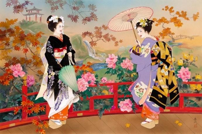 Японская художница Харуё Морита и изящные красавицы в ярких шелках