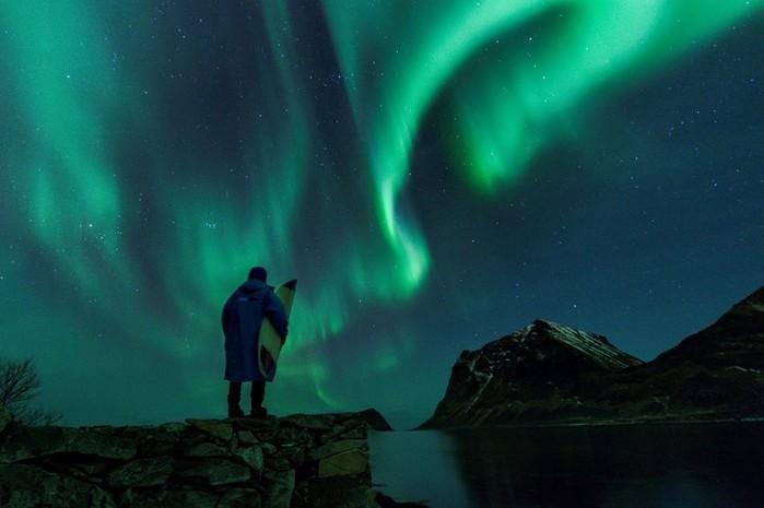 Арктический серфинг в Норвегии на Лофотенских островах за Полярным кругом