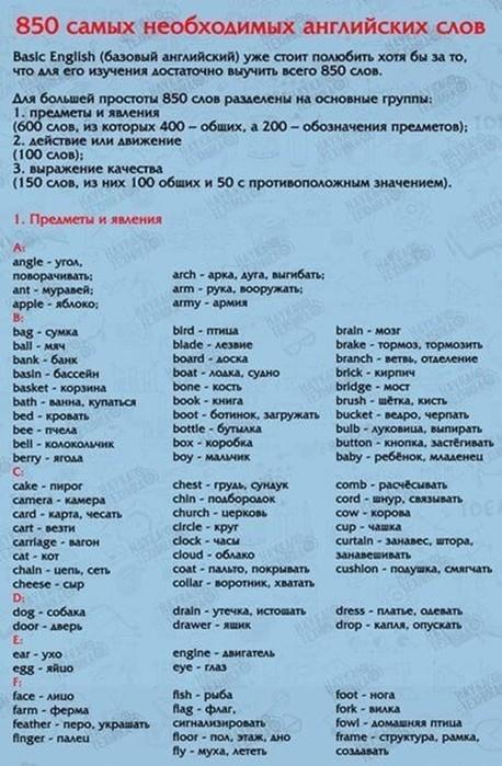 850 самых употребительных английских слов в картинках