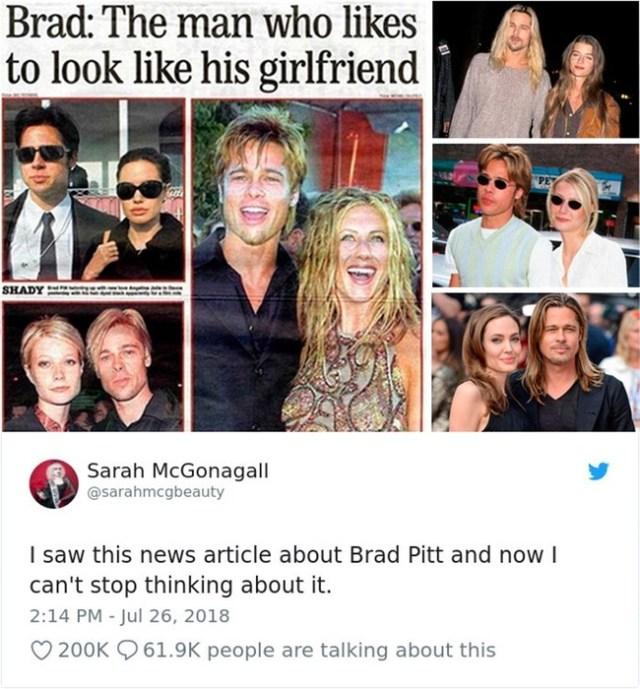 Почему Брэд Питт копирует образы женщин, с которыми встречается?