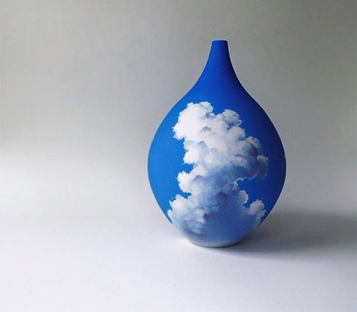 Как австралийская художница рисует облака на керамических вазах?