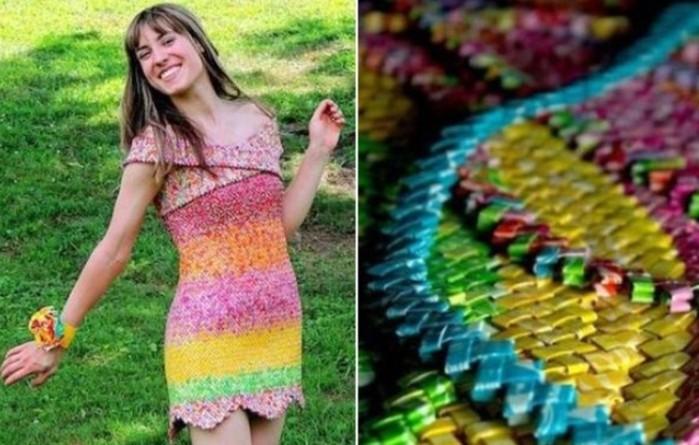 Платье из 10 тысяч фантиков сделала девушка дизайнер