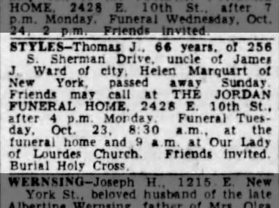 Thomas J Styles obit Indy Star 22 Oct 1951 P23 Col 3