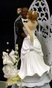 bride African American Groom Wedding cake topper Bi racial top     Bi Racial Bald African American IWB Wedding cake topper