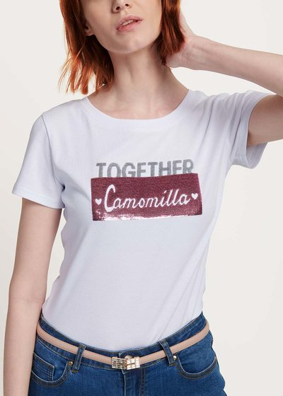 T-shirt Sandy strass e pailletes - White - Immagine categoria