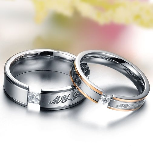 My Love Engraved Heart CZ Stainless Steel Couple Wedding