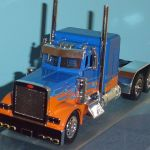 Peterbilt Custom Big Rig Tractor 1 32 Blue With Orange Flames By New
