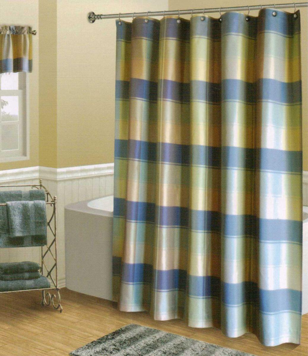 Plaid Blue Green Tan Textured Luxury Fabric Shower Curtain New