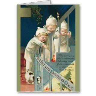 Christmas Card Victorian Boy Girl Dog Sled Sleigh Ride Cut