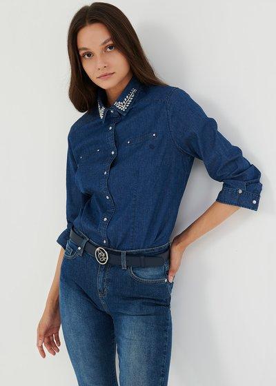 Camicia Cris in denim con strass sul colletto - Denim - Immagine categoria