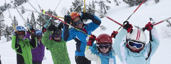 chldren at ski station at Pyrennes