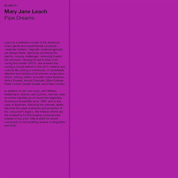 MARY JANE LEACH / Pipe Dreams (LP)