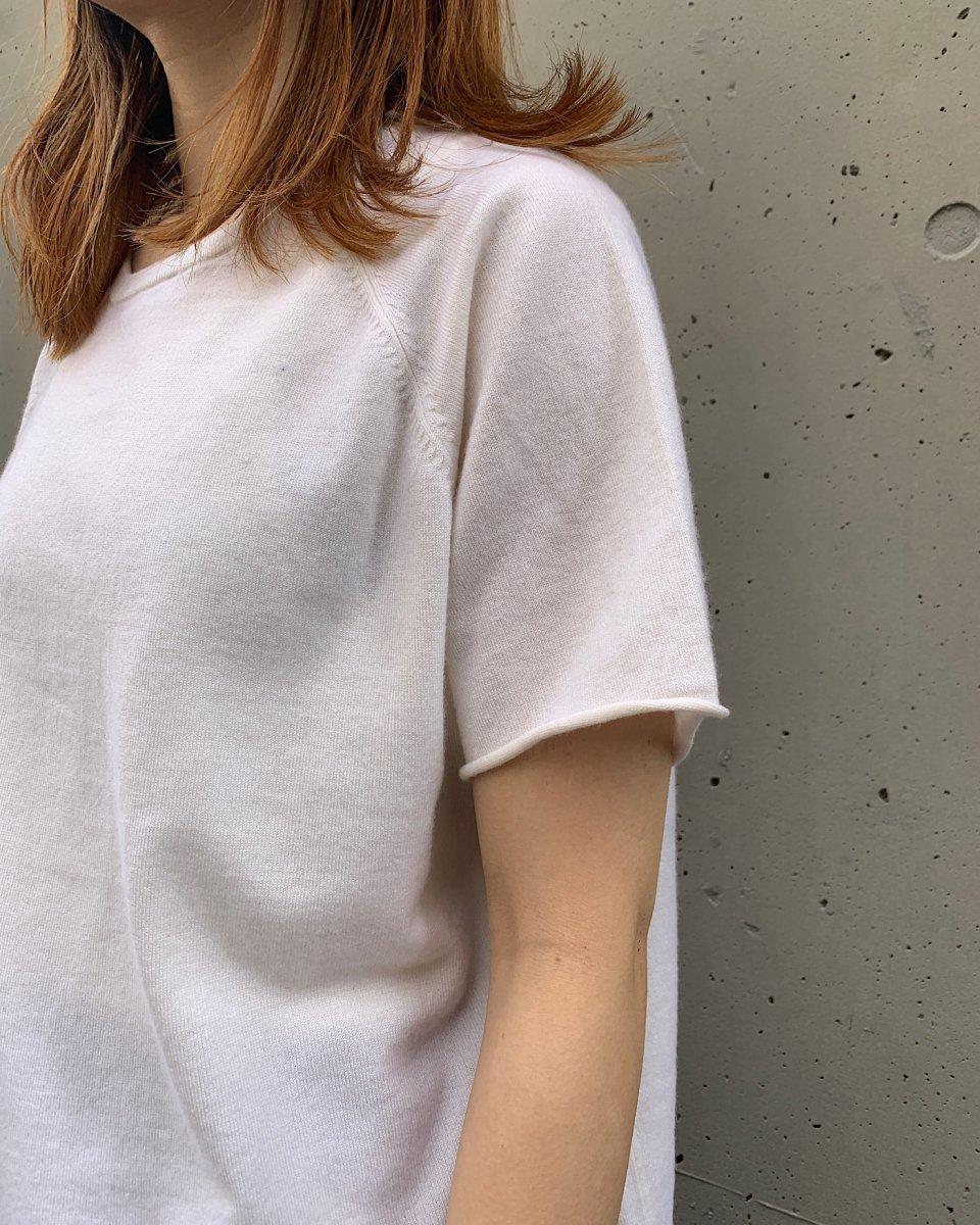 カシミアラグランTシャツ 白の写真