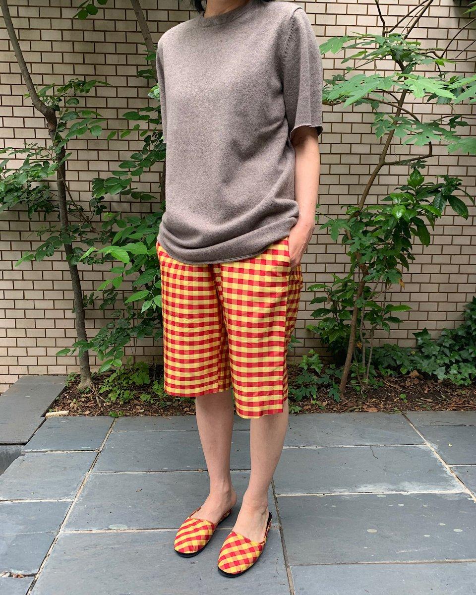 ショートパンツ ギンガム赤 x イエローの写真