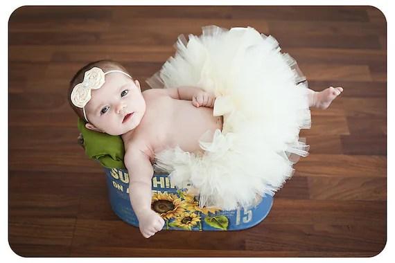 Tutu, Baby Girl Tutu, Newborn Tutu, Ivory, Rosette Headband, Size NB-24M