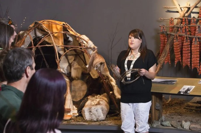 First Nations members enlighten visitors at the Danoja Zho Cultural Centre.