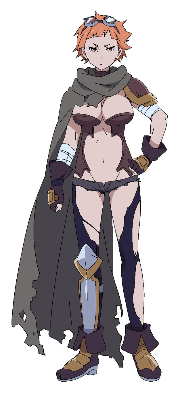 Mikan, a tan-skinned warrior wearing goggles, boots, a cape, and very little else.