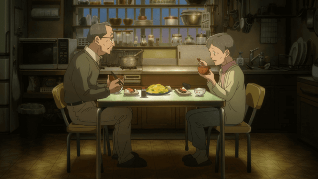 "Michio and Yoko, an elderly couple, share a meal in a scene from the 8th ""Ryotei no Aji Ekimiso"" animated TV CM."