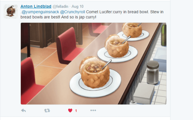 Crunchyroll #10: Curry in a Bread Bowl from Comet Lucifer