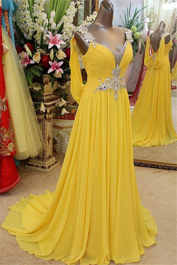 Affordable Yellow Spaghetti Strap Open Back Prom Dresses | Sleeveless Applique Evening Dresses with Beads