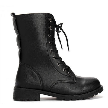 Womens Cool Black Punk Knight Lace Up Short Boots US4078
