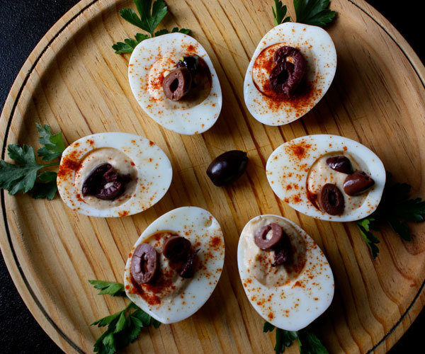 Recipe for hummus filled deviled eggs, a high-protein snack.