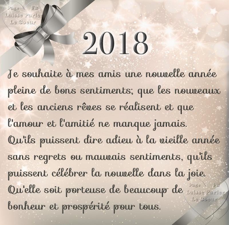 Je souhaite à mes amis une nouvelle année pleine de bons sentiments