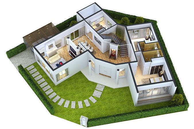 Detailed House Floor 1 Cutaway 3D Model CGTrader