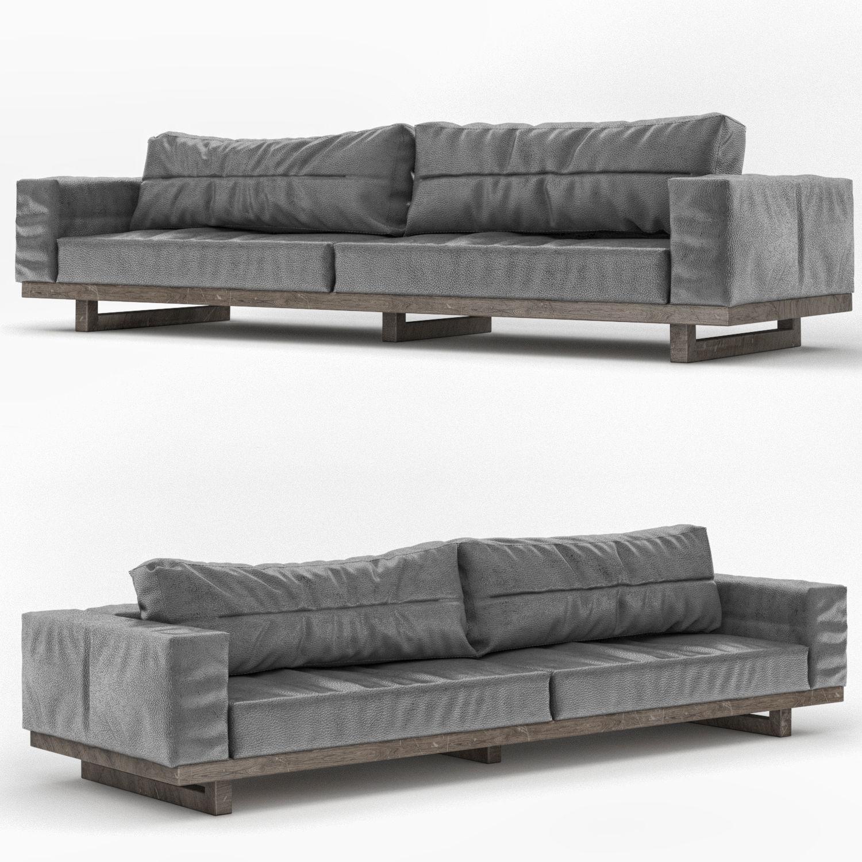 Dark Gray Leather Sofa 3d Model Cgtrader