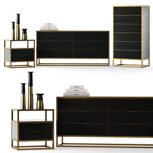 crate and barrel oxford bedroom set 3d model