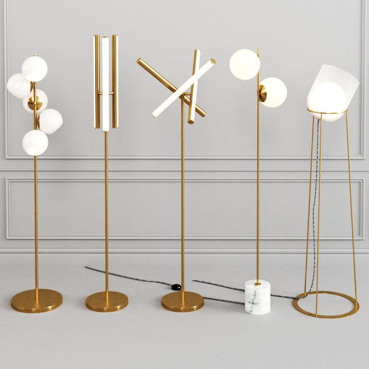 west elm floor lamp set 3d model