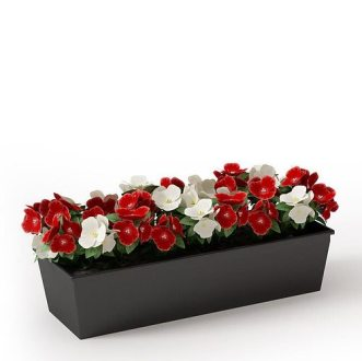 Simple Black Wooden Planter With Red And White Flowers 3D model OBJ