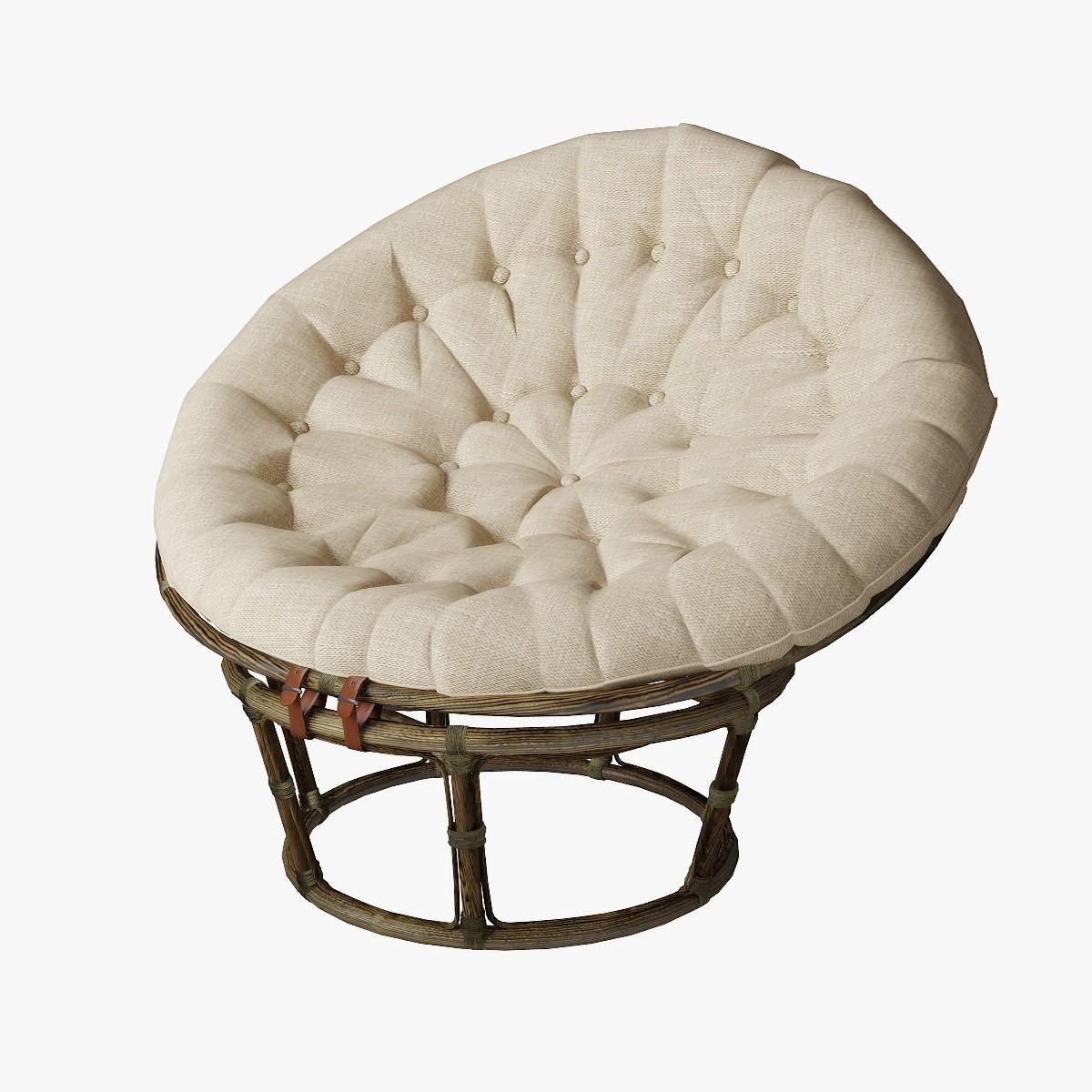 papasan rattan chair 3d model