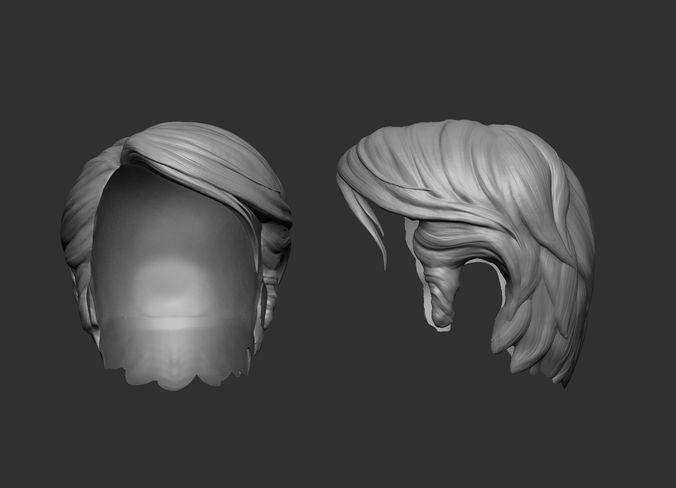 Short Hair Stylized 3D Printable Model CGTrader