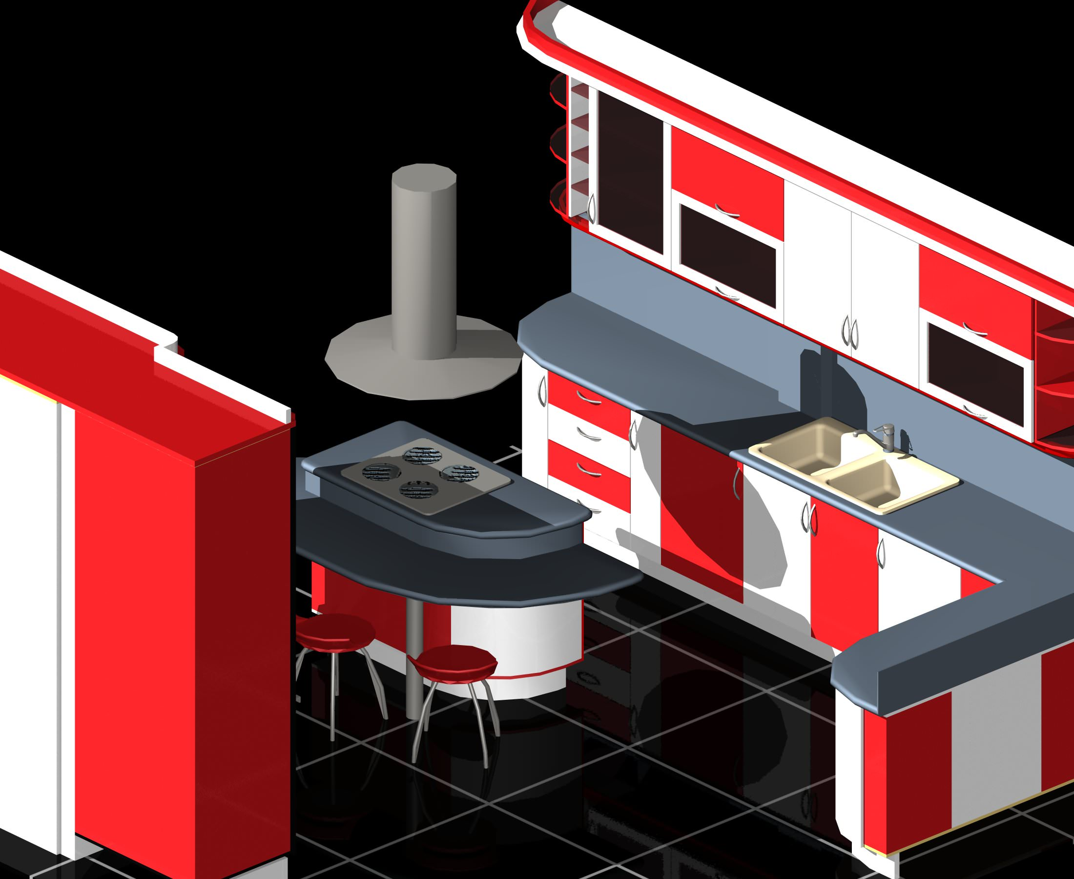 Modular Kitchen Auto Cad 3d Cgtrader
