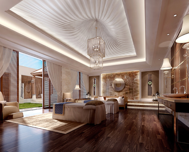 SPA Room With Stylish False Ceiling 3D Model MAX