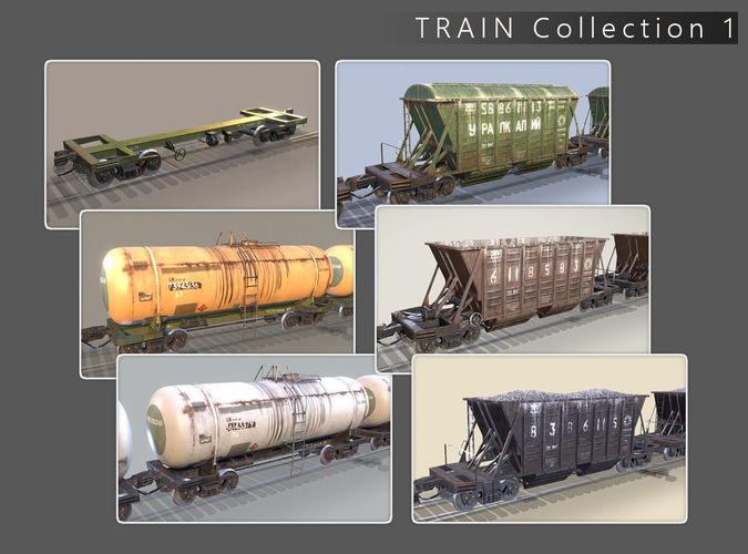 3D Model Train Collection 1 CGTrader