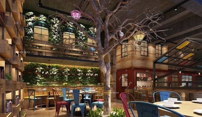 Luxury Restaurant Hall With Plants And A Tree Inside 3d