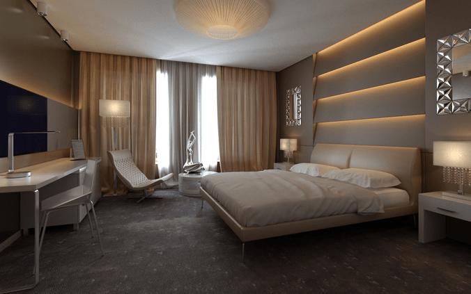 Exclusive European Hotel Room Design Idea 3D Model MAX FBX DWG