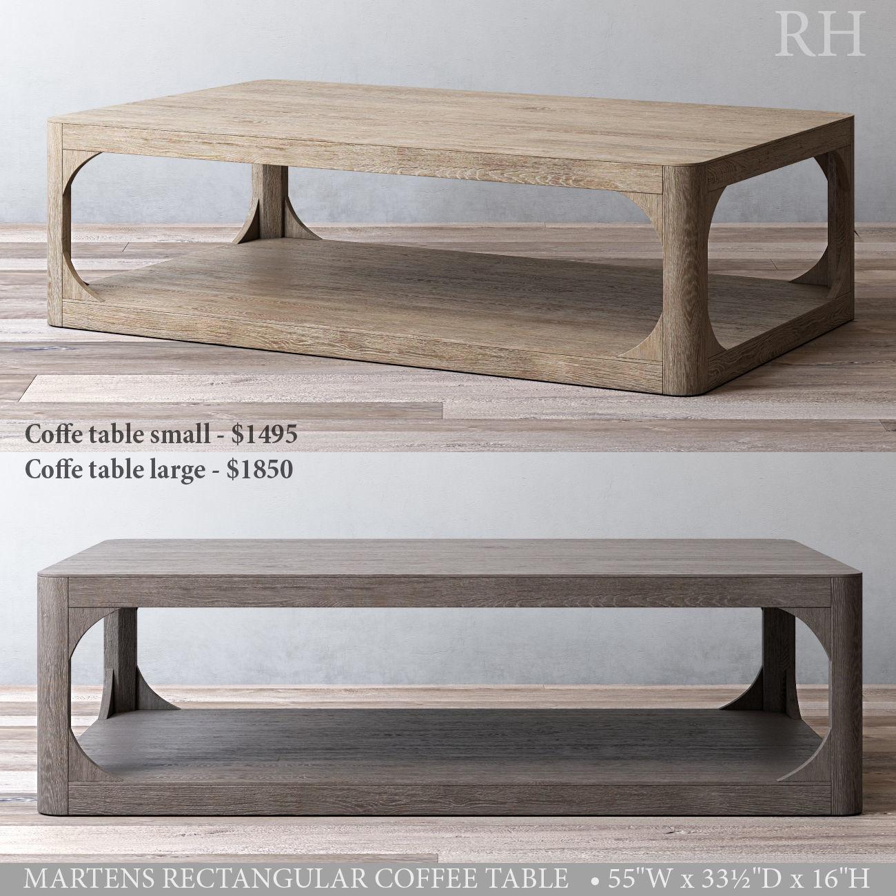 rh martens rectangular coffee table 3d model