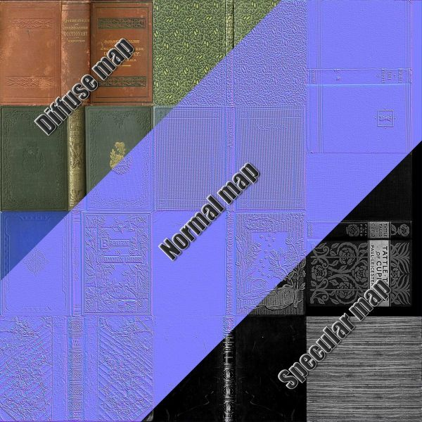 3D asset Old Books Type 1 Low Poly   CGTrader PBR file preview presented by  cgtrader
