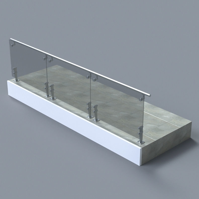 3D Glass Handrail With Short Baluster Staircase Cgtrader | Glass Handrails For Stairs | Wood | Frameless | Outside | Standoff | Residential