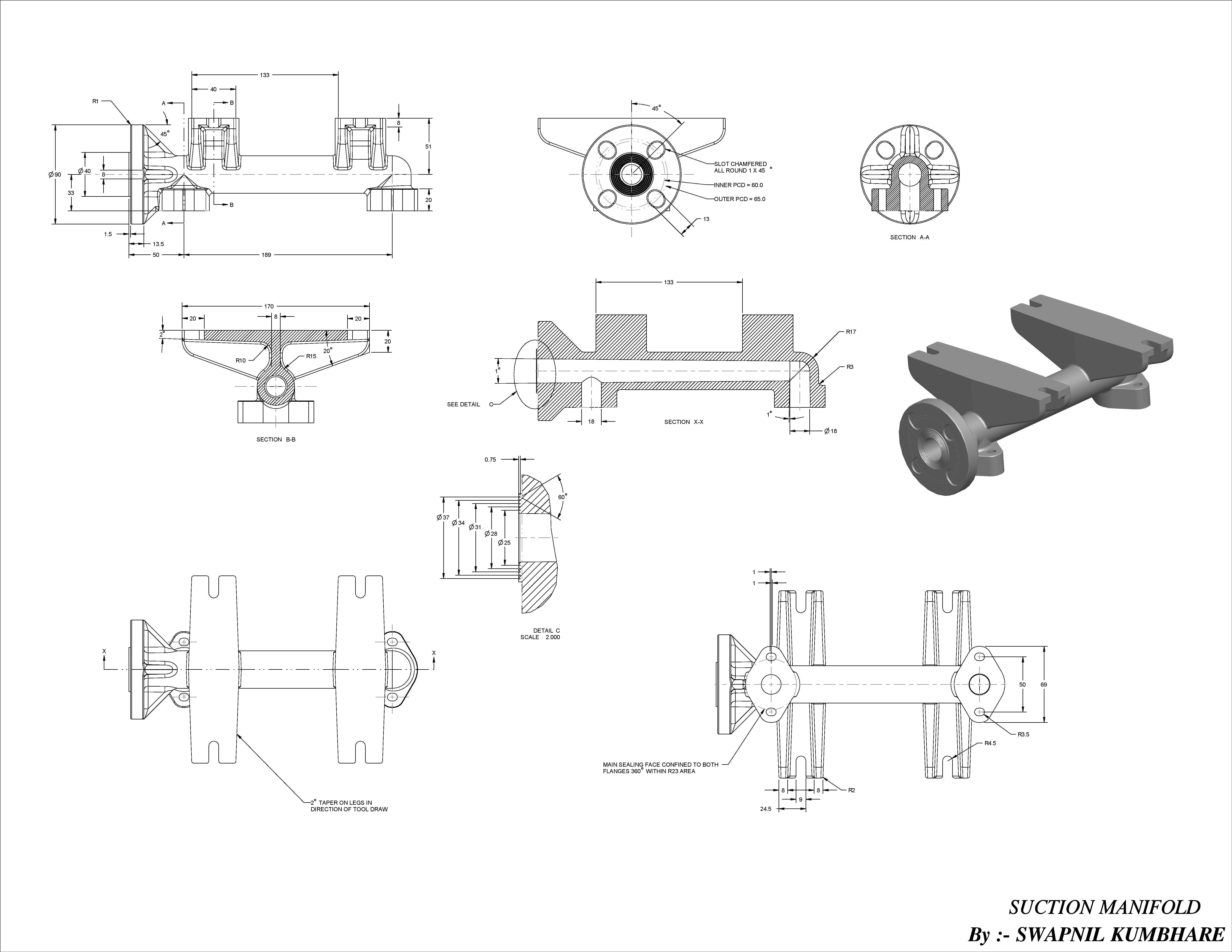 Suction Manifold 3d Model Ige Igs Iges Stp